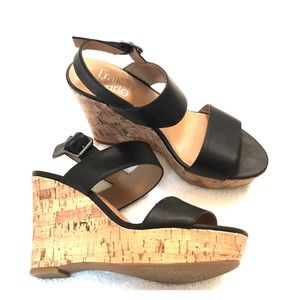 Franco Sarto black and cork wedges Size 6.5